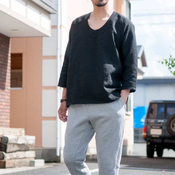 Pull Over Sign : Black sign quot modified old linen pull over shirt masuya